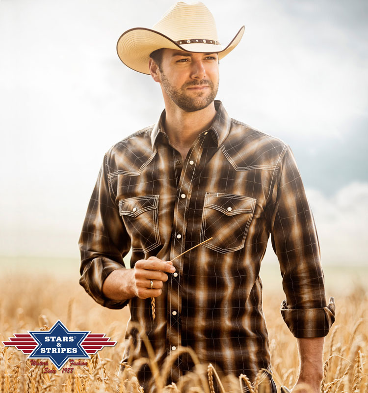 Country Cowboy Camicia WESTERN UOMO ABBIGLIAMENTO
